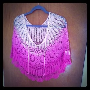 Vintage pink and white ombre poncho